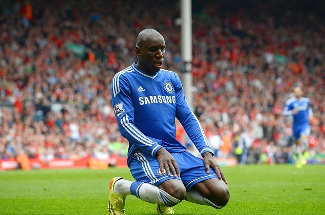 Chelsea striker Demba Ba celebrates a goal by making salat.