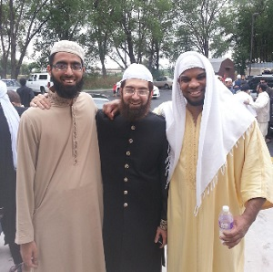 Ahmad (right) with Imam Muhammed Shoayb (middle).