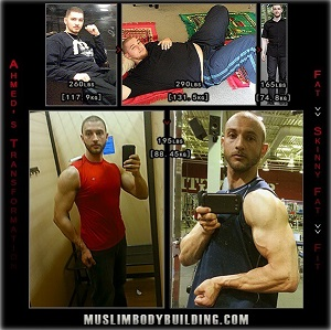 Ahmed's transition from obese to ripped. (MuslimBodybuilding.com)