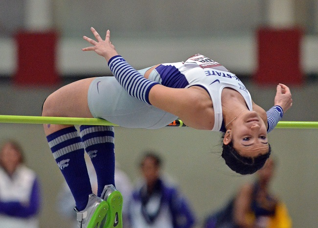 Siba jumps at the Big 12 Indoor Championship in February. (Photo: K-State Athletics)