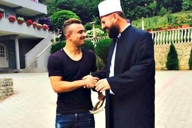Shaqiri with imam Shefqet Krasniqi.
