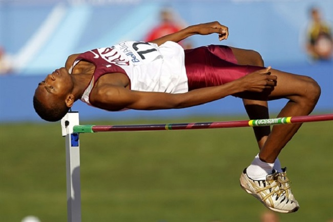Mutaz Essa Barshim has cleared 7 feet, 11 inches in the high jump.