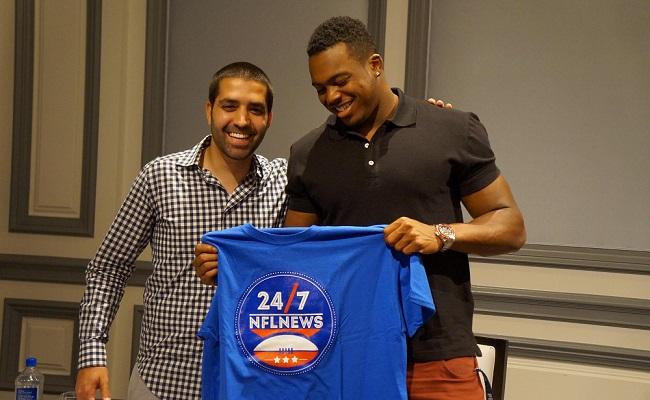 Karam Hadid (left) with Detroit Lions linebacker Brandon Copeland