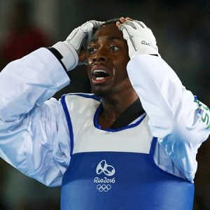 Lutalo Muhammad of Great Britain reacts to losing in the gold-medal match.