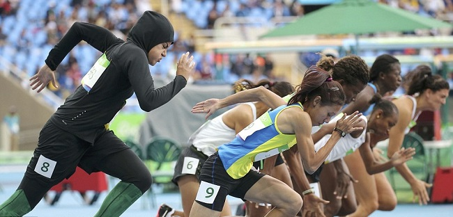 Kariman Abuljadayel of Saudi Arabia (far left) competes in the 100-meter dash in Rio.
